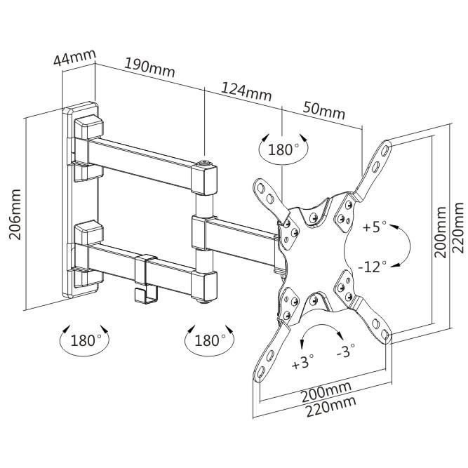 Digis DSM-2123 - габариты и крепежные отверстия кронштейна для телевизора