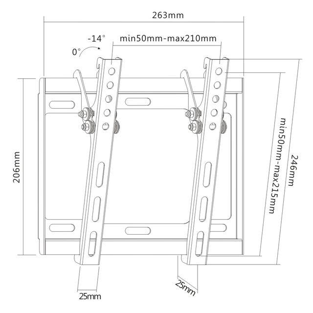 Digis DDSM-3421H - габариты и крепежные отверстия кронштейна для телевизора