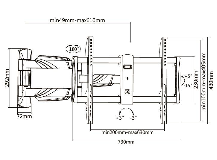 Digis DSM-5063 - габариты и крепежные отверстия кронштейна для телевизора