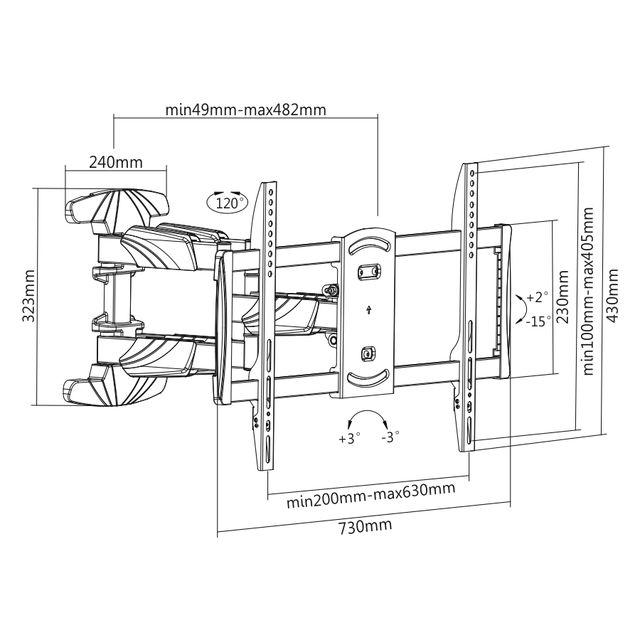 Digis DSM-5066 - габариты и крепежные отверстия кронштейна для телевизора