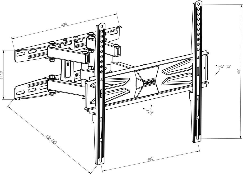 Digis DSM-8646 - габариты и крепежные отверстия кронштейна для телевизора