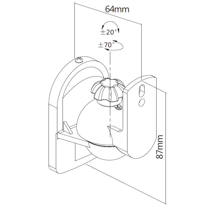 Digis DSM-A28 - габариты и крепежные отверстия кронштейна для акустических систем