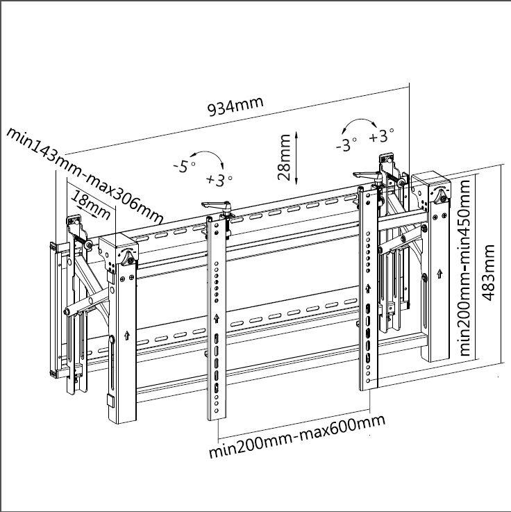 Digis DSM-P0380 - габариты и крепежные отверстия кронштейна для телевизора