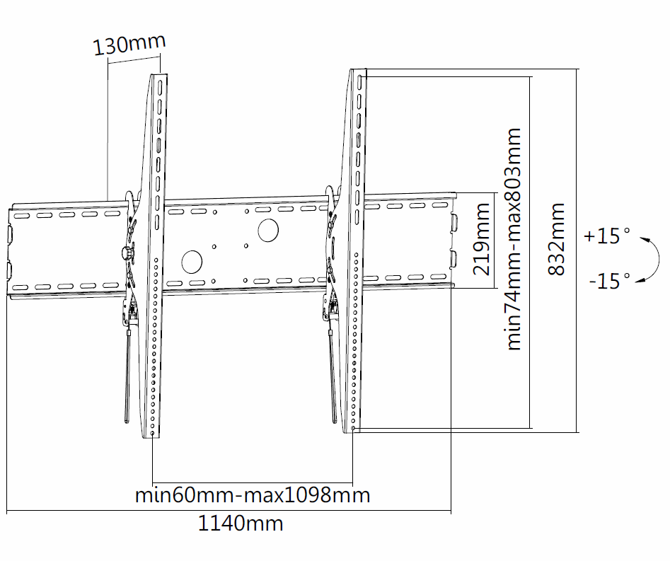 Digis DSM-P1108T - габариты и крепежные отверстия кронштейна для крупногабаритных и тяжелых ТВ и панелей