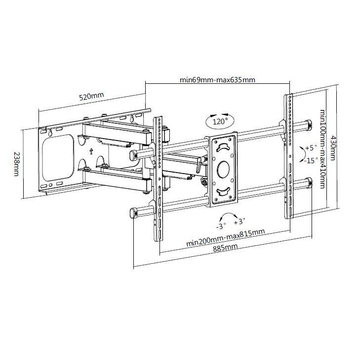 Digis DSM-P4986 - габариты и крепежные отверстия кронштейна для телевизора