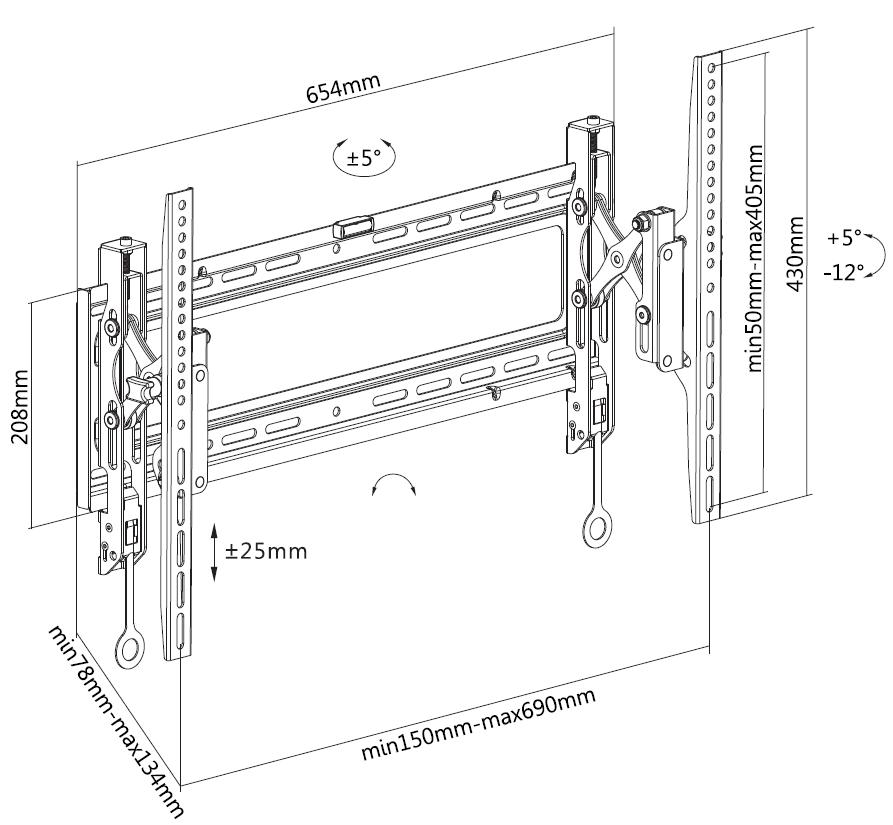 Digis DSM-P6542T - габариты и крепежные отверстия кронштейна для крупногабаритных и тяжелых ТВ и панелей